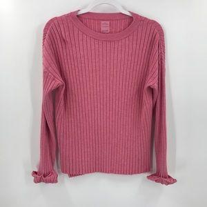 Zara knitwear Ribbed Crewneck Sweater Cuffed Pink
